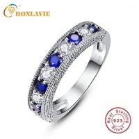 Cluster Rings Bonlavie 925 Sterling Silber Finger Stapelbare blaue weiße CZ Stein Ring für Frauen Modeschmuck Hochzeitsgeschenk1