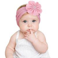 Sevimli Moda Bebek Bantlar Naylon Çiçek Elastik Hairbands Bebekler Çocuklar Şapkalar Headdress Bebek Kız Zarif Saç Aksesuarları Saç Klipleri