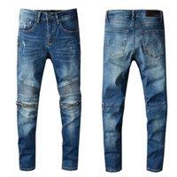 Alta Qualidade Mens Jeans Afligido Motocicleta Motociclista Jeans Rock Skinny Slim Rasgado Buraco Joelho Zíper Denim Calças de calça jeans