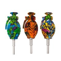 Graffiti-Silikonrohr tragbare bunte Rohrgranatenform-Tabakrohre mit Titan-Nägeln Silikonrohre Rauchrohr