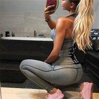 2017 Lettera stampata Sport Tuta Donne Grigio Yoga Set Patchwork Patchwork Jogging Donne Set O-Collo Gym Abbigliamento per le donne Set fitness T200411