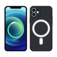 Manyetik Sıvı Silikon TPU Kapak Kılıf iphone 12 Pro Max Mini Mag Güvenli Kablosuz Şarj Kılıfları Iphone 11 XR XS 8 Artı