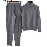 Taovk Traje de lana de las mujeres Suéter de cuello alto + Pantalones Estilo suelto Juego de dos piezas Traje de punto de punto I3Vo