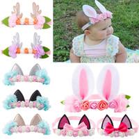 Baby hoofdbanden bunny meisjes kat oor hoofdband mooie dier haarbanden bloem chiffoon hoofd banden schattige konijn haaraccessoires kha313