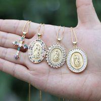 Palavras-chave, religioso, virgem, virgem, mary charme pingente pavimentado cor cristal cúbico zircon ouro cadeia choker colar para homem mulher