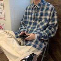 Männer Casual Hemden 2021 Frühling Koreanische Camisa de Manga Larga A Cuadros Brillante Moda Chaqueta Suelta Top Naranja / Azul M-XL