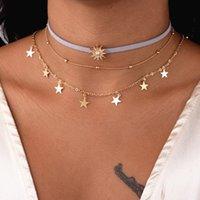 Choker Ожерелья цепь Многослойные Солнечные Звезда Кисточкой Многослойное Ожерелье Металлические Бар Слоистые Золотые Цепи Ожерелье 51 K2