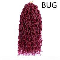 18 '' göttin faux locs curly endet kurze wellenförmige synthetische haarverlängerungen häkeln fabinen 70g pc wavy faux locs häkeln haare mit curl