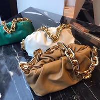 2020 Bolso de cuero real de las mujeres Bolsa de nube suave arrugada bola de masa hombro Mensajero Bolsa de mano de cadena grande Diseñador de bolsas de la moda de las mujeres