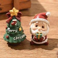 Resina mini figurine natale natale santa claus in resina giocattoli fai da te giardino ornamento artigianato bambini giocattoli regali all'ingrosso dha2817
