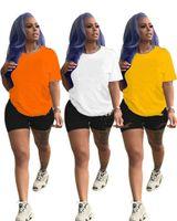 Femmes Tracksuits Lettre Vêtements Été 2 pièces Ensemble T-shirt à manches courtes + Shorts Casual Sports Sacs Couture Couture Colurée Tenue Pullover Costume de jogging 3152