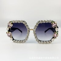 선글라스 브랜드 디자인 수제 라인 석 광장 패션 안경 여성 꽃 진주 라운드 빈티지 해변 파티 1