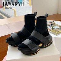 Nuovo designer di lusso scarpe da donna stivaletti a maglia stivaletti per donna stivali da moto spessa piattaforma Sole scarpe calzino nero donna calza