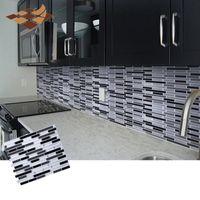 3D Şerit Mozaik Duvar Sticker Kendinden Yapışkanlı Kiremit Backsplash Duvar Sticker Anti-Yağlı Vinil Banyo Mutfak Ev Dekor DIY