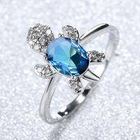 Австрийское хрустальное кольцо овальные голубые алмазные кольца белый золотой модный рост кварцевой кольцевой смеси в продаже