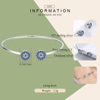 BAMOER New 100% 925 Sterling Silver Lucky Blue Eyes Blue CZ Women Open Cuff Bangle & Bracelet Luxury Silver Jewelry SCB058 201209