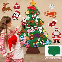 Qifu Filz Weihnachtsbaum Weihnachtsmann Merry Weihnachten Dekor für Zuhause 2020 Navidad Natal Kesrt Baum Cristmas Frohes Neues Jahr 2021 LJ201217