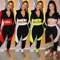 Trend Long Sleeve Zipper Short Tops Trousers Tracksuits Spri...