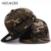 Hatlander Camouflage Snapback Polyester-Kappe leerer flacher Camo-Baseballmütze ohne Stickerei Herrenmütze und Hut für Männer und Frauen 201026