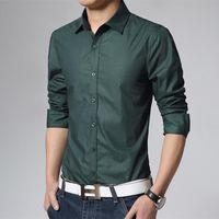 남성 캐주얼 셔츠 왼쪽 ROM 2021 상급 부티크 코튼 퓨어 컬러 드레스 패션 긴팔 망 공식 사업