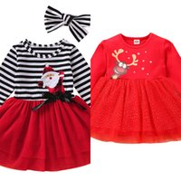 Red Christmas Party Girls Dress Santa Costume Kids Dresses F...