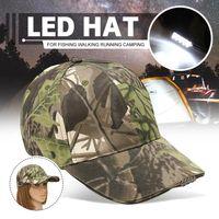 Einstellbares Fahrrad 5 LED-Scheinwerfer-Kappe Batteriebetriebene Hut mit LED-Kopf-Licht-Taschenlampe für Fischerei Jogging Baseballmütze J1225