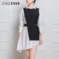 Chicever 2020 Осенняя рубашка платье для женщин с черным повязком жилет из двух частей тонкий асимметричные платья женская одежда мода1