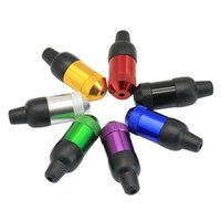 Garrafas fumando mini mini metal tubos de fumo tabaco tubo de rapé colorido tubulações de mão durável massa de borracha alumínio
