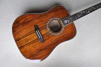 Fabrik benutzerdefinierte braune 41-Zoll-Akustikgitarre mit Acacia-Top-Feststoff, 6 Saiten, Blumenfret-Inlay, Abalone-Bindung, kann angepasst werden