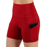 Courts de gymnases Femmes Taille haute Haute levage Push Up Shorts de yoga Diagonal Pocket Sports Courir serré Fitness Yoga Pants