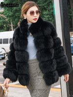 Nerazzurri Winter fox fur coat women long sleeve stand collar Striped black fluffy faux fur jacket Womens plus size fashions 7xl Z1205