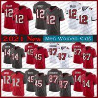 12 Tom Brady Jersey 87 Rob Gronkowski Homens Mulheres Crianças 13 Mike Evans 14 Chris Godwin 81 Antonio Brown 45 Devin Branco Vermelho Jerseys