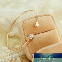 SUMMENG Neue Ankunft Mode Einstellbare Kristall Doppel Herz Bogen Bilezik Manschette Öffnung Armband Für Frauen Schmuck Geschenke