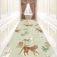 Modern Home Carpet for Living Room Kitchen Bedside Area Rug Exquisite Loop-Pile Velvet Doormat Easy Clean Floral Corridor Rug