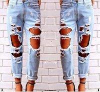 Yırtık Kot Kot Joggers Diz Delik Slim Fit Kot Rock Star Bayan Tulum Yıkılan Kot Erkek Arkadaşı Kalem Pantolon M497
