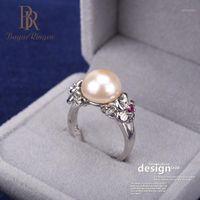 Anillos de racimo Bague Ringen para las mujeres Silver 925 Joyería Flor Pearl Temperamento Apertura Ajustable Rring Female Cumpleaños Regalo Weddings1