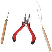 3 em 1 penas de ferramenta de extensão de cabelo kits alicates gancho de loop agulhas para micro anel contas extensões