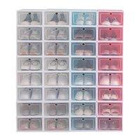 12 pcs caixa de sapato conjunto multicolor plástico de armazenamento dobrável plástico organizador home organizador de sapato pilha de armazenamento organizador único caixa c0116