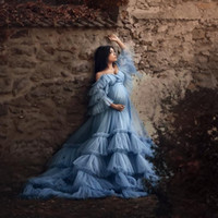 Blue Maternity Dresses Ruffled Lace Tiered Tulle Jackets for...