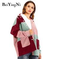 Beiyingni jaqueta feminina moda outono inverno soletismo cor vintage quente casaco solto mulheres Único-breasted bf corduroy jaquetas 201019