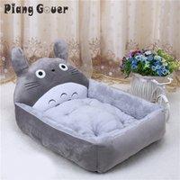 Dessin animé Totoro Flanelle Chat Chenil Fournitures pour animaux de compagnie Big Taille Tapis de lit de chien Tache aquarée Chiot Waterpoor Chaud Maison Wash 201124