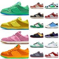 2020 Sashiko Samba Moda Ayakkabı Dunks Düşük Kadınlar Erkek Yeşil Turuncu Sarı Pembe Açık Ayakkabı Tıknaz Dunky Anında Kaykay Sneakers