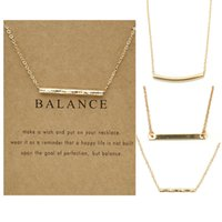 50 unids / lote New Golden Balance Beam Clavicle Change Change de oro Tarjeta de tira recta collar corta para las mujeres Accesorios de moda Regalo de joyería