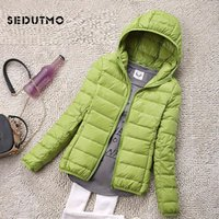 SEDUTMO Winter Plus Size 4XL Womens Down Jackets Short Ultra Light Duck Down Coat Hooded Puffer Jacket Autumn Parkas ED034 201124