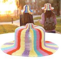 6pcs Drapeaux d'été plus épais Chapeaux Vase magique Chapeaux pliants à la main pour Beach Funny Paper Casquettes Travel Sun chapeau pour enfants adultes