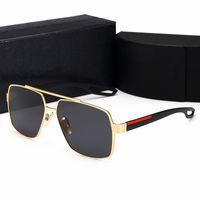 패션 레트로 편광 럭셔리 망 디자이너 선글라스 무선 금도금 된 사각형 프레임 브랜드 태양 안경 안경 케이스와 함께