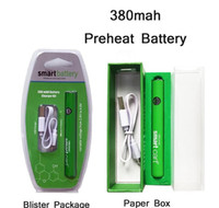 Smart carrinho bateria vape 510 cartuchos de rosca 380mAh Variável tensão pré-aquecedor de baterias smartcart com carregador USB EVOD LEI