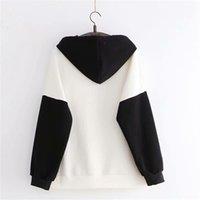 Yupinciaga mulheres com capuz moletom queda inverno manga longa hit cor femme estilo chinês bordado hoodies 201207