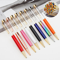 DIY 빈 배럴 선물 펜 볼펜 황금 부품 블루 블랙 잉크 특히 럭셔리 크리스탈 다이아몬드 금속 펜 52colors