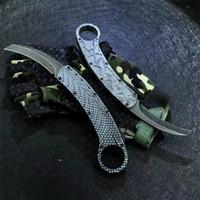En Kaliteli Oto Taktik Karambit Pençe Bıçak 440C Siyah Taş Yıkama Blade Zn-Al Alaşım Kolu Naylon Kılıf Ile Açık Survival Bıçaklar